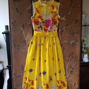 60s yellow flower maxi sundress by I.Magnin & Co